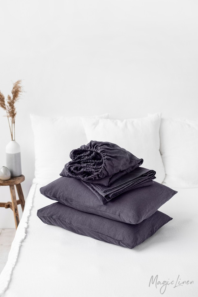 Purple charcoal linen sheet set (4 pcs)