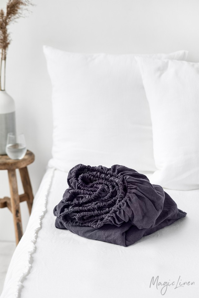 Purple charcoal linen fitted sheet