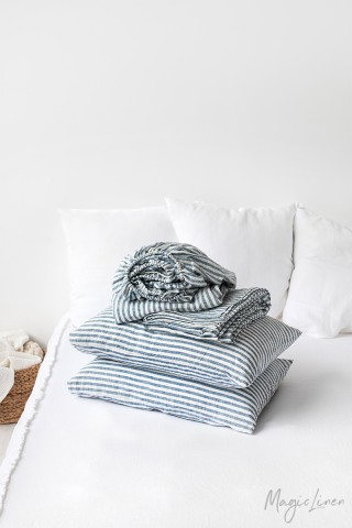 Striped in blue linen sheet set (4 pcs)