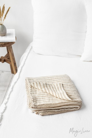 Striped in natural linen flat sheet
