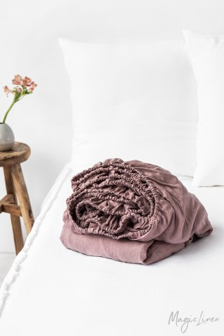 Woodrose linen fitted sheet
