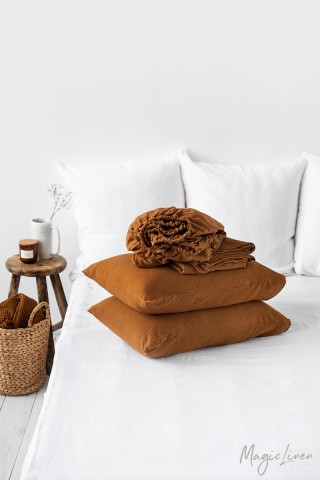 Cinnamon linen sheet set (4 pcs)