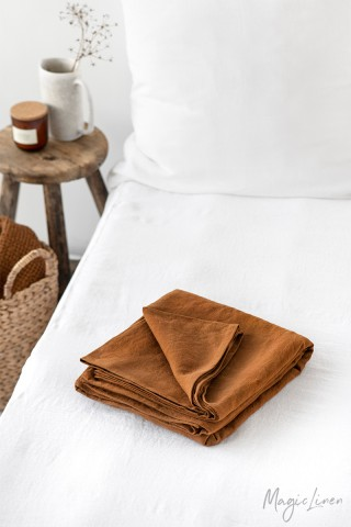 Cinnamon linen flat sheet