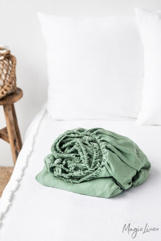 Matcha green linen fitted sheet