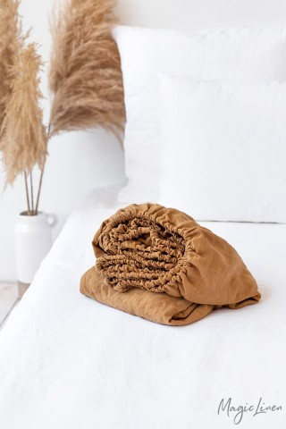 Tan linen fitted sheet