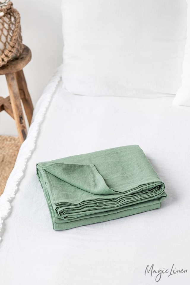 Matcha green linen flat sheet