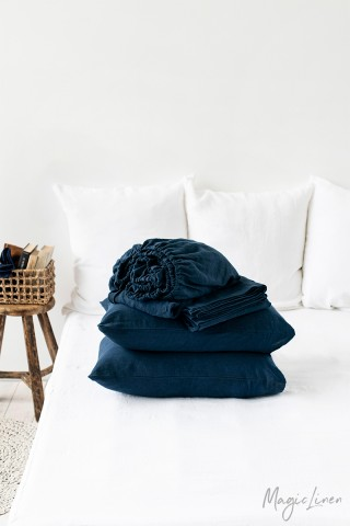 Navy blue linen sheet set (4 pcs)