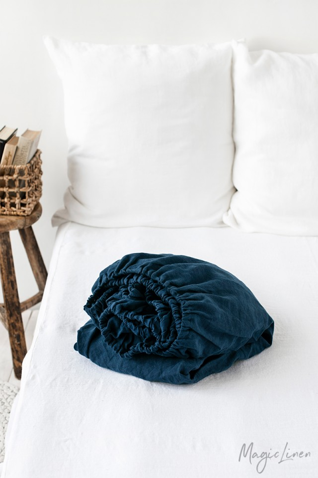 Navy blue linen fitted sheet