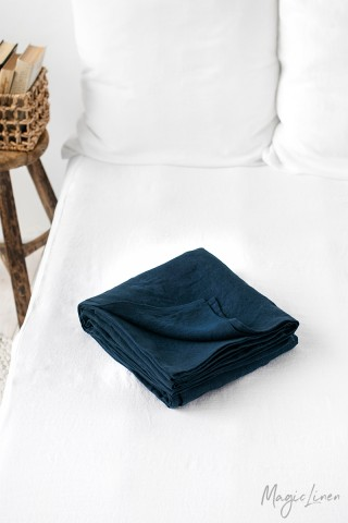 Navy blue linen flat sheet