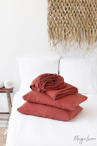 Clay linen sheet set (4 pcs)