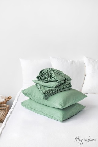 Matcha green linen sheet set (4 pcs)
