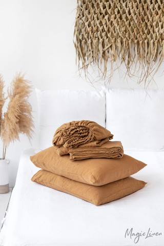 Tan linen sheet set (4 pcs)