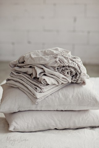 Light gray linen sheet set (4 pcs)