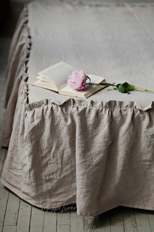 Ruffle trim linen bed skirt