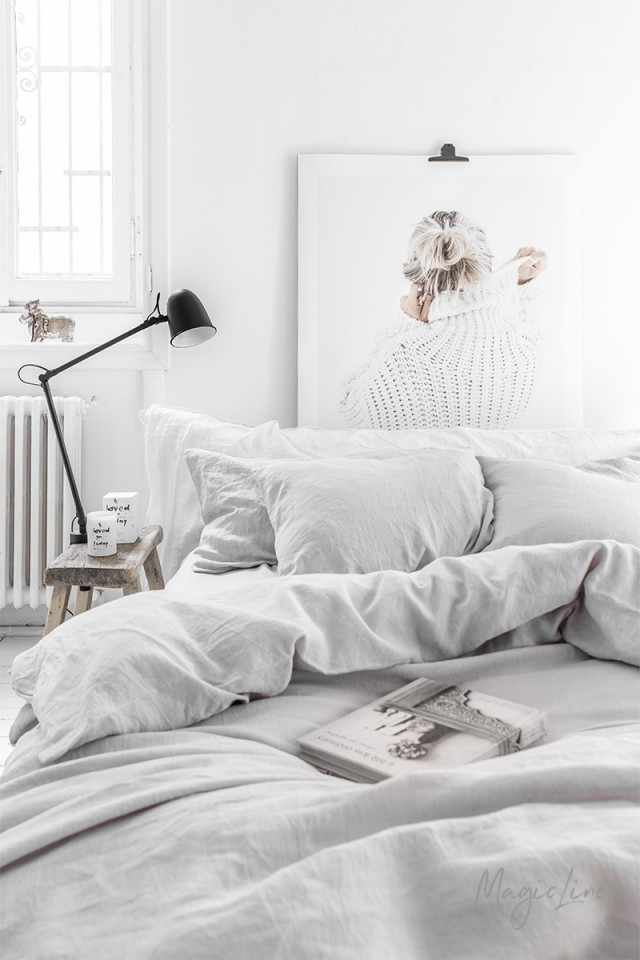 Light gray linen pillowcase