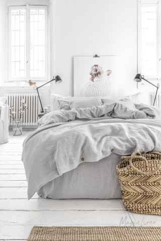 Light gray linen duvet cover set (3 pcs)
