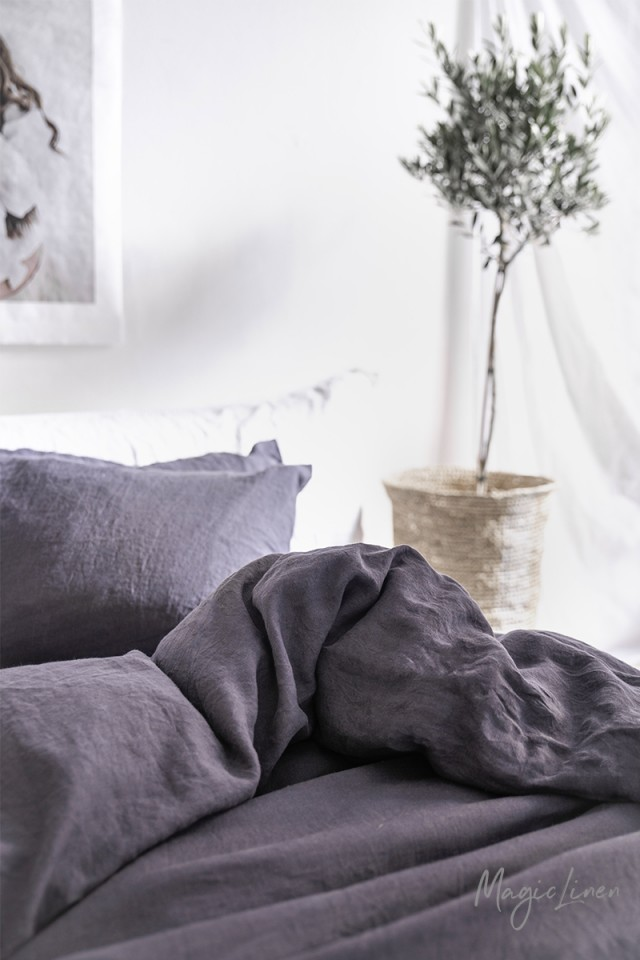 Purple charcoal linen pillowcase