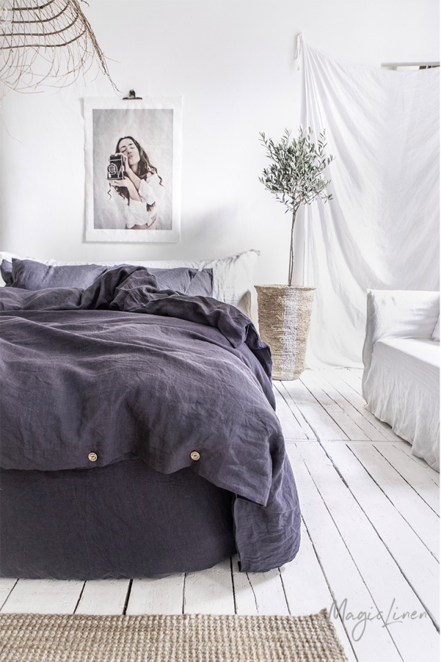 Purple charcoal linen duvet cover
