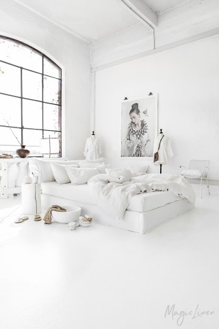 White linen duvet cover set (3 pcs)