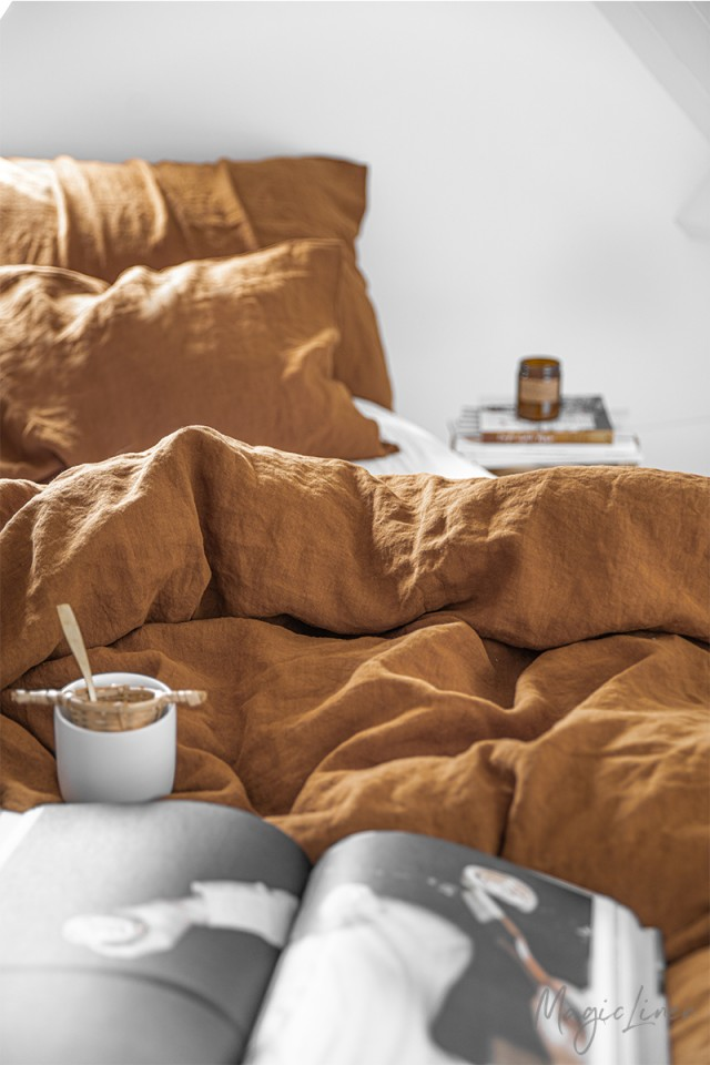 Cinnamon linen duvet cover set (3 pcs)