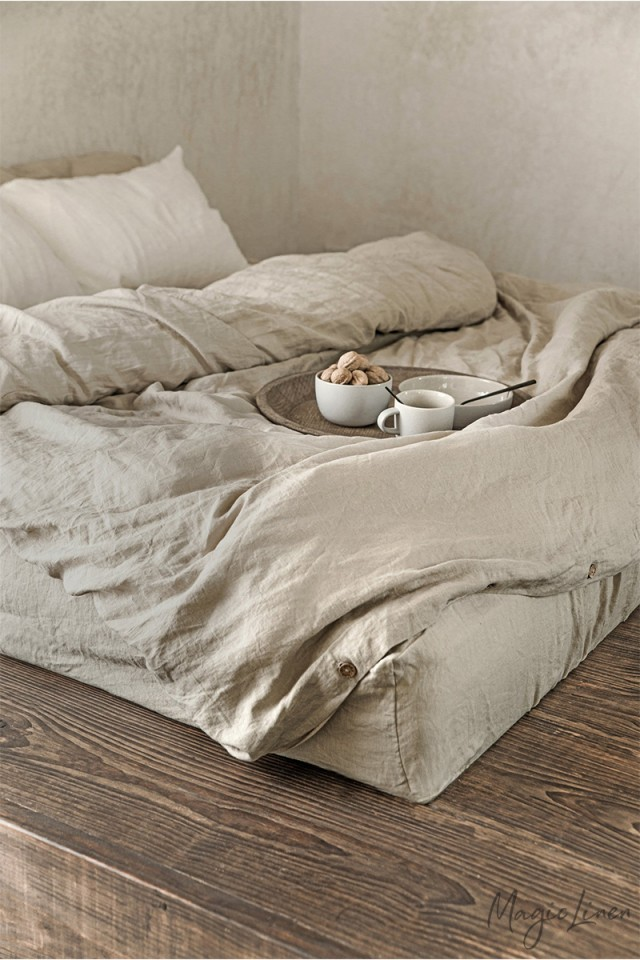 Natural linen duvet cover set (3 pcs)
