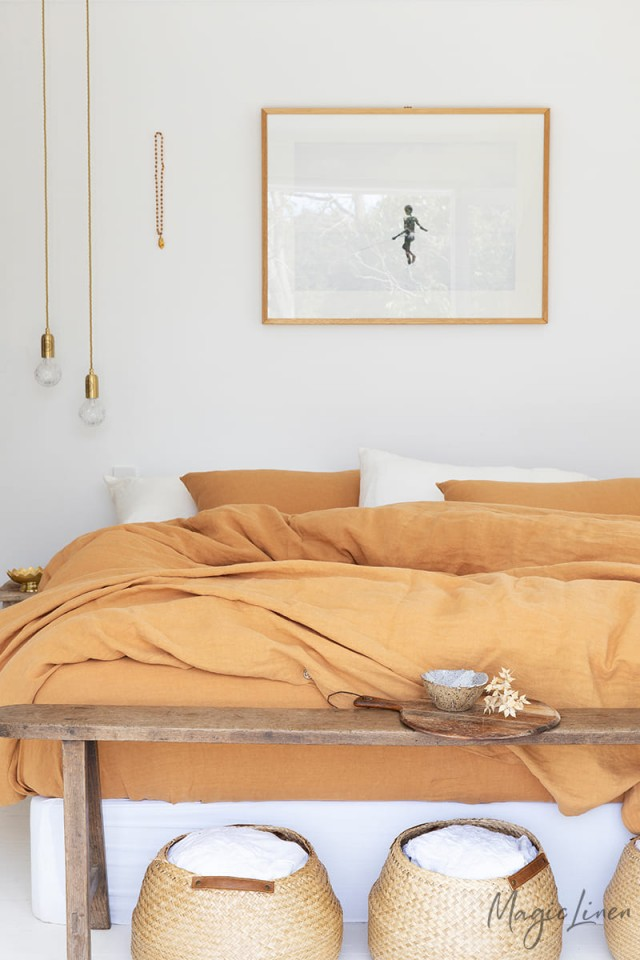 Tan linen duvet cover