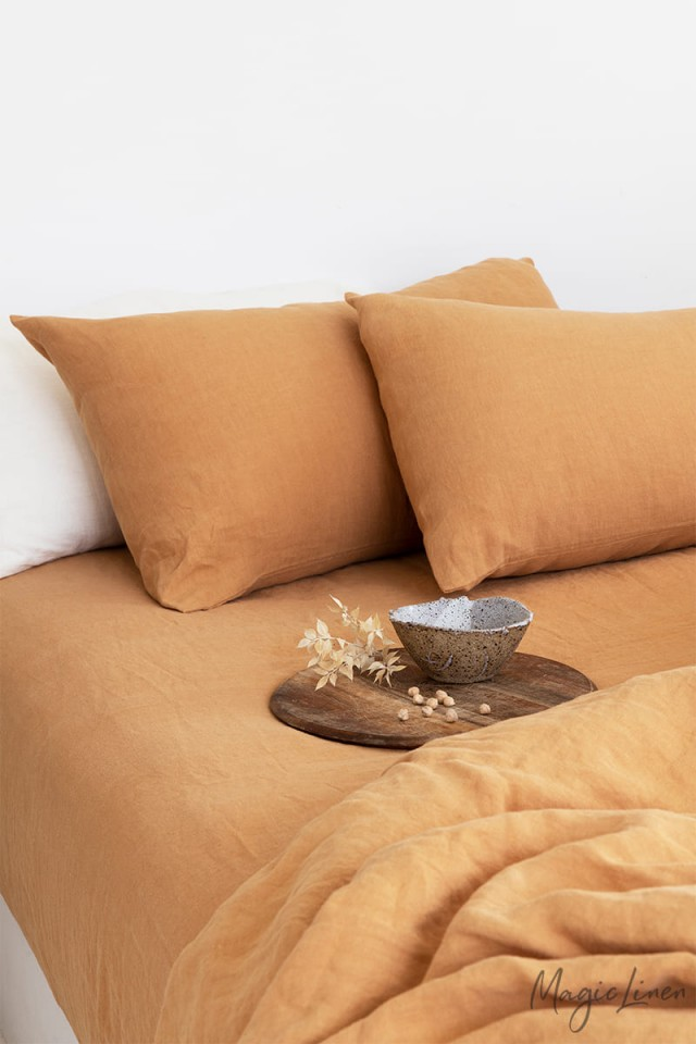 Tan linen duvet cover set (3 pcs)