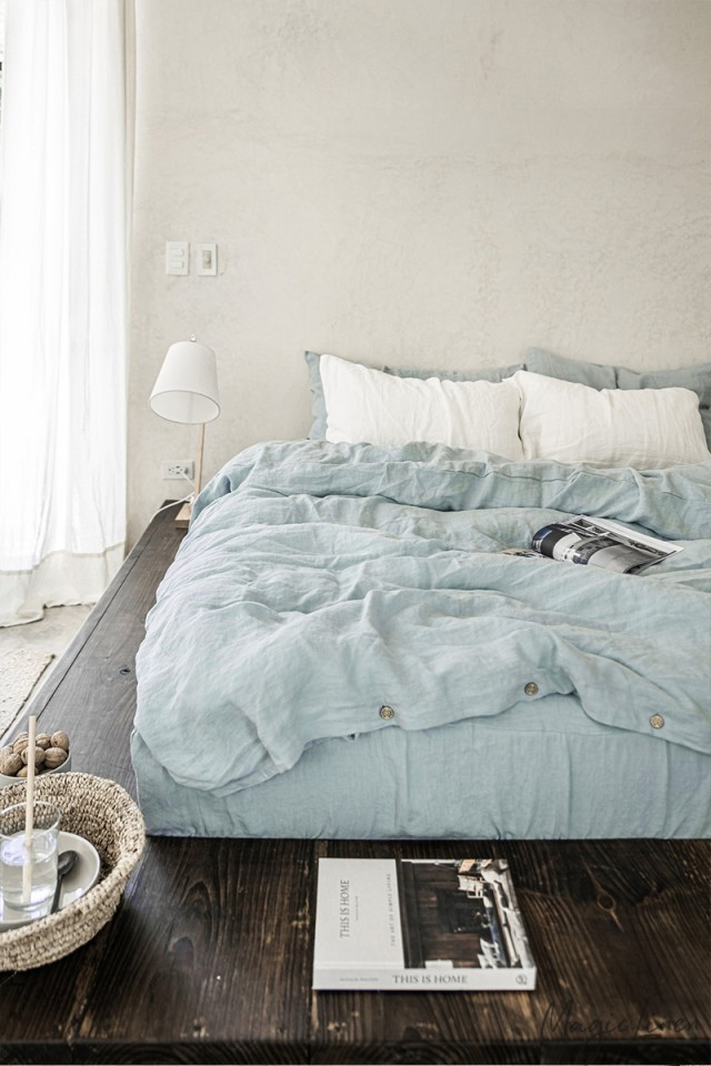 Dusty blue linen duvet cover set (3 pcs)