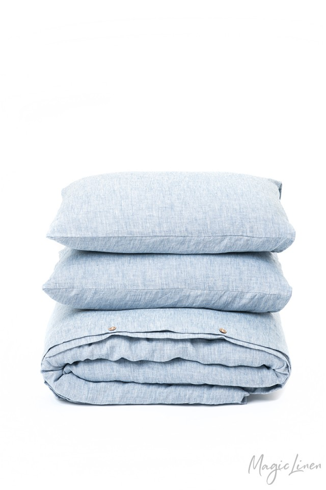 Blue melange linen duvet cover set (3 pcs)