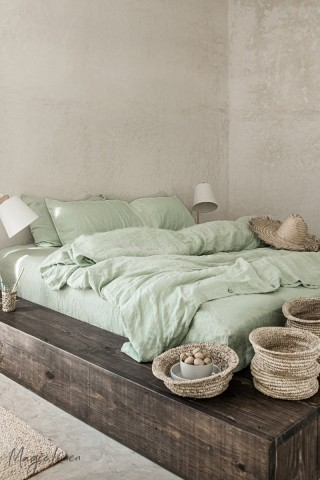 Sage green linen duvet cover set (3 pcs)