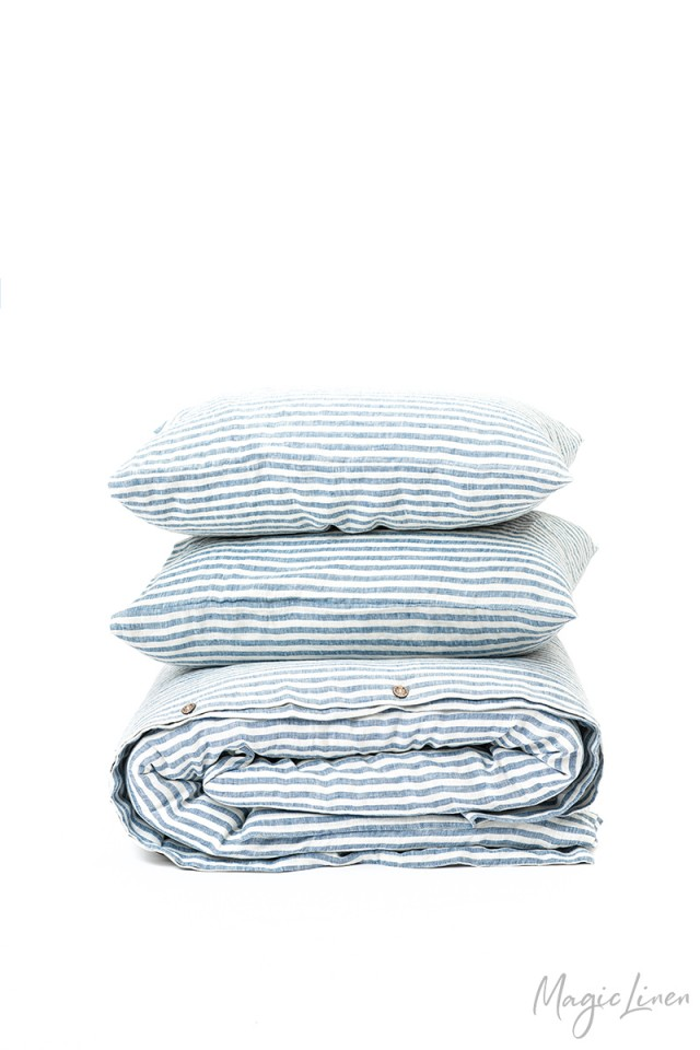 Striped in blue linen duvet cover set (3 pcs)