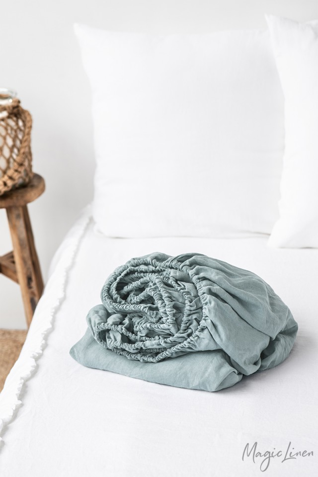 Dusty blue linen fitted sheet