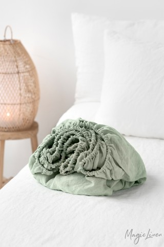 Sage green linen fitted sheet