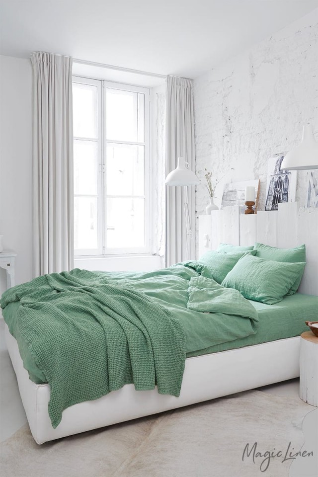 Matcha green linen duvet cover set (3 pcs)