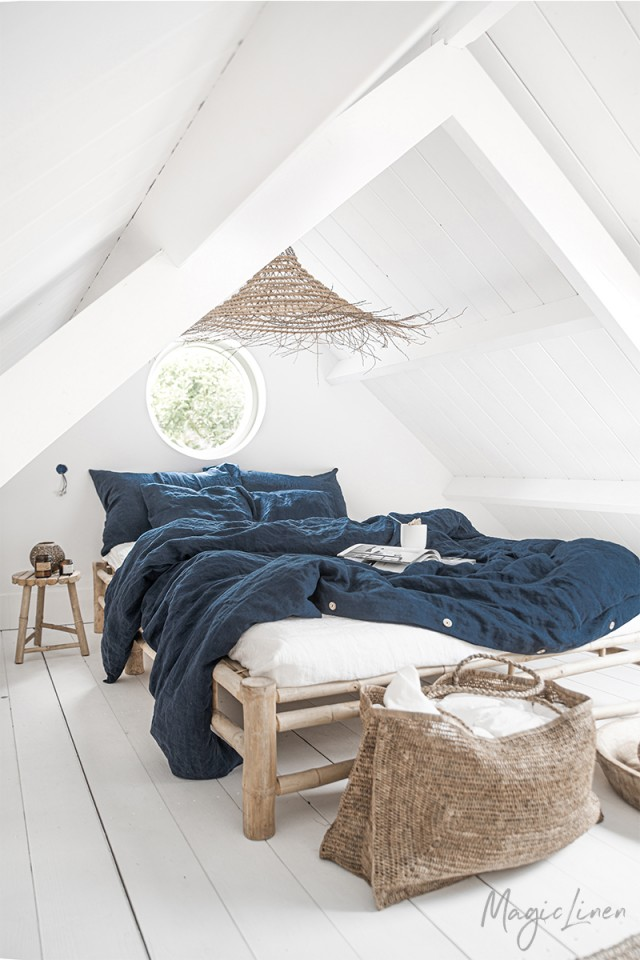 Navy blue linen duvet cover
