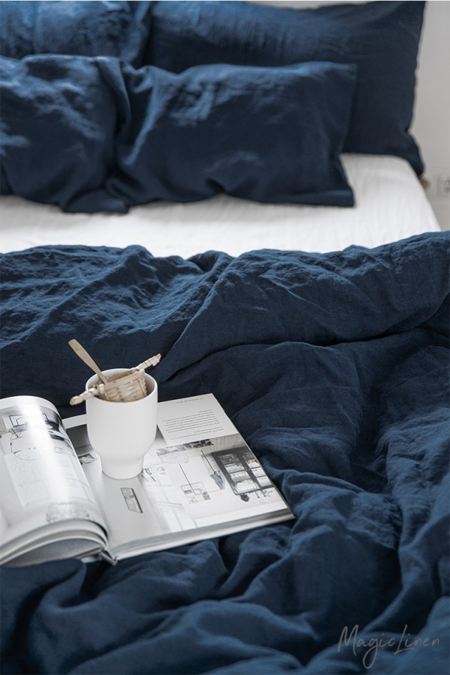 Navy blue linen duvet cover set (3 pcs)