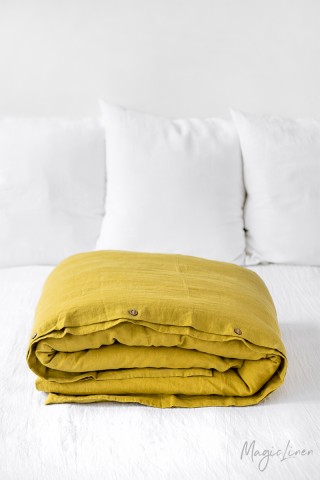 Moss yellow linen duvet cover
