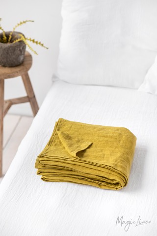 Moss yellow linen flat sheet