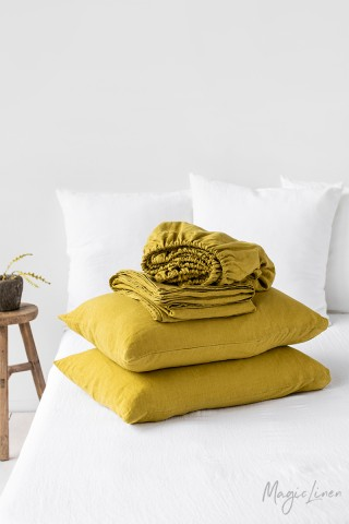 Moss yellow linen sheet set (4 pcs)
