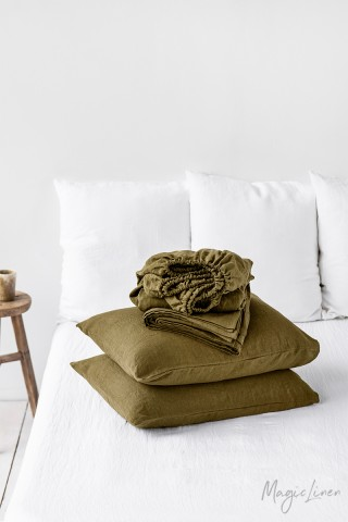 Olive green linen sheet set (4 pcs)