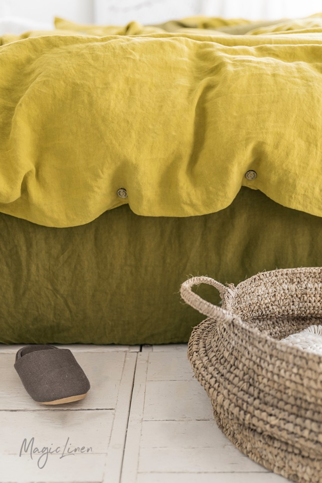 Olive green linen fitted sheet