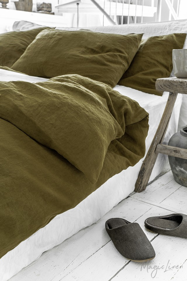Olive green linen pillowcase