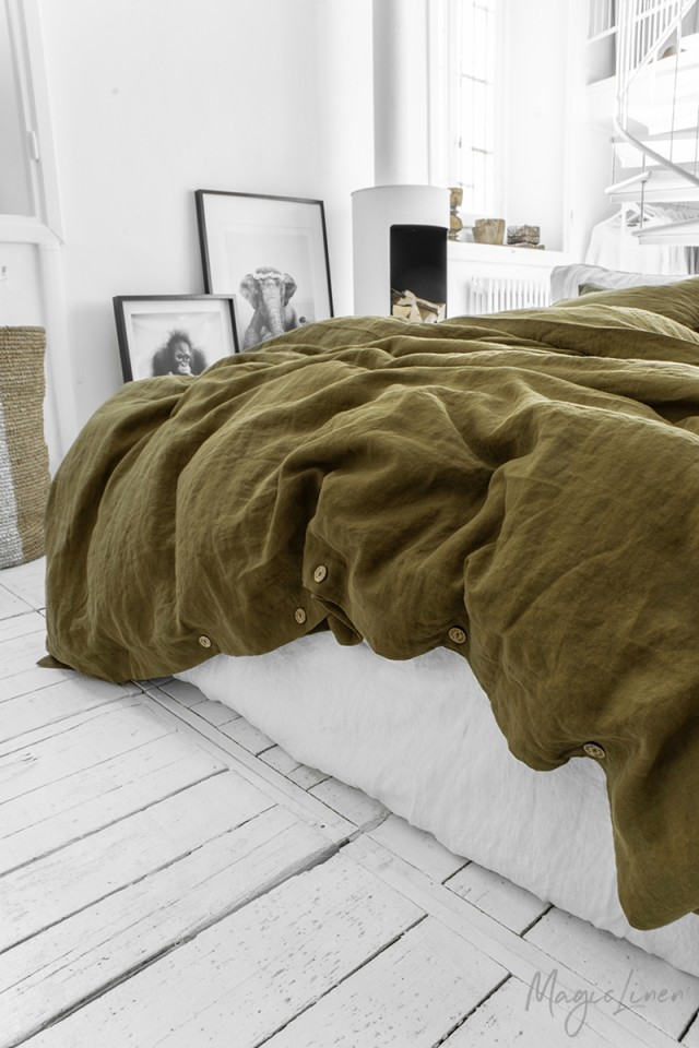 Olive green linen duvet cover set (3 pcs)