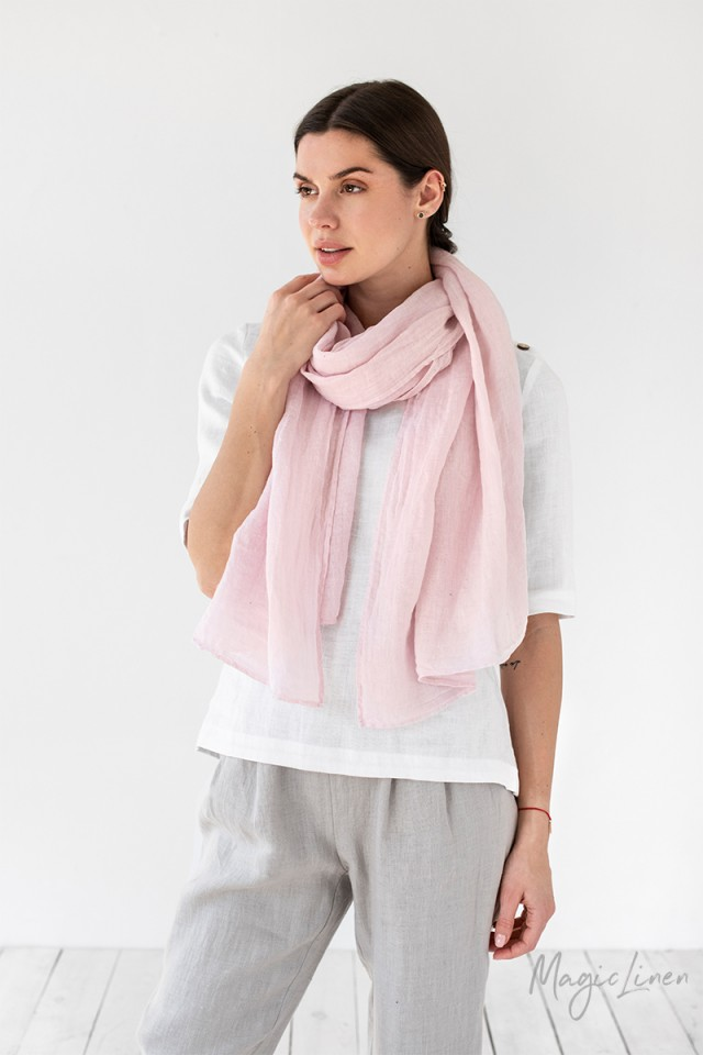 Baby pink linen scarf