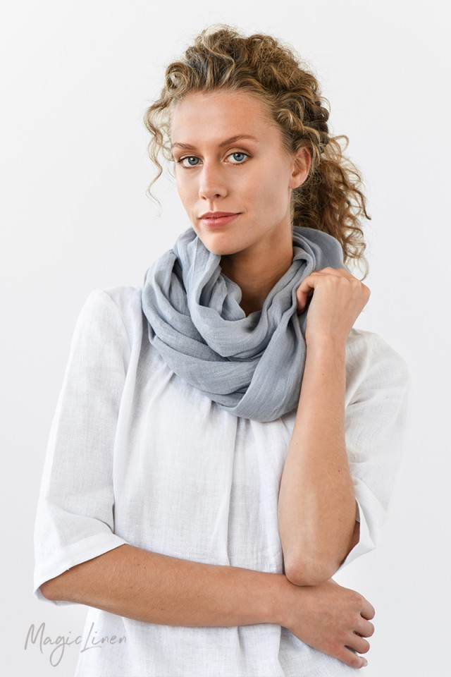 Light gray linen scarf