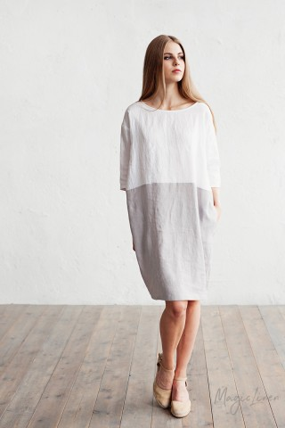 Color-block linen dress Adria