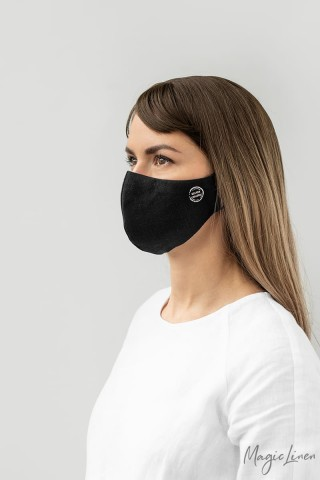 Silver coated face mask, set of 3, with a pouch