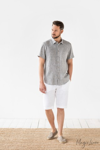 Short sleeve men's linen shirt Hvar