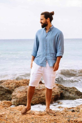 Men's linen cargo shorts LUGANO
