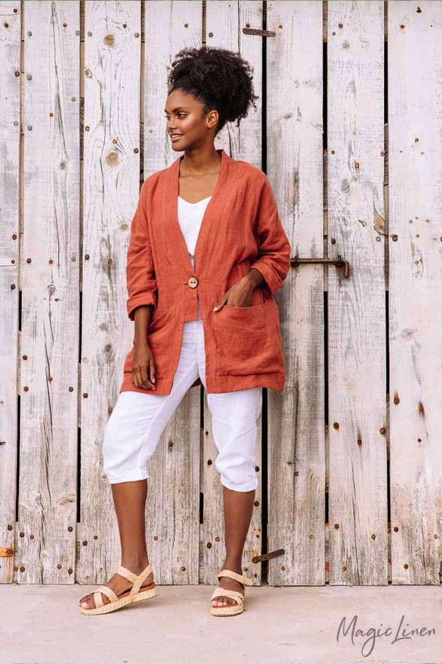 Relaxed fit linen jacket SANTANDER